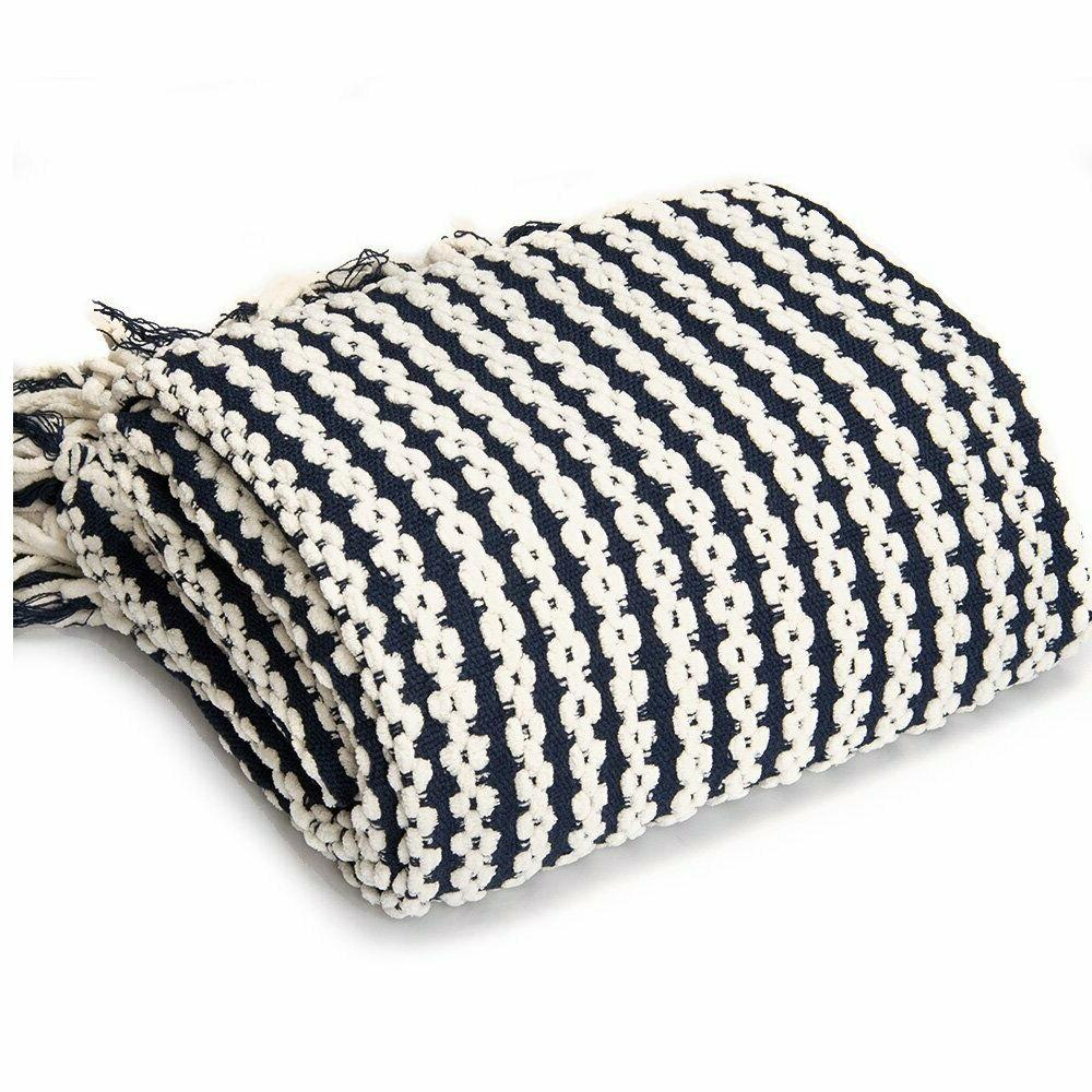 navy and white chain link knit fashion