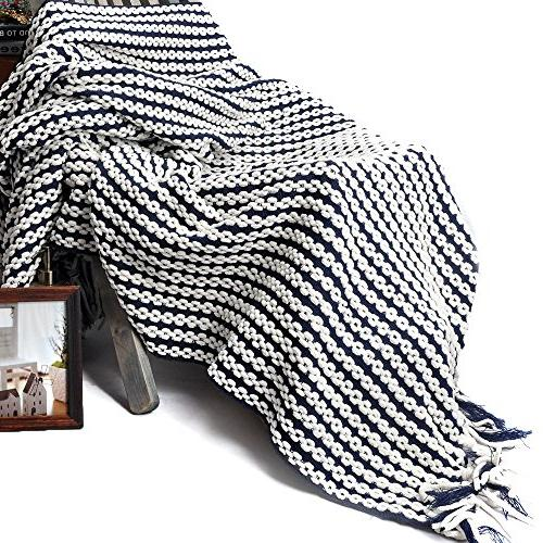"""Battilo Navy and Chain Link Knit Throw x 50"""""""