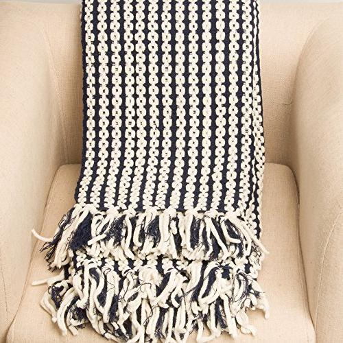 "Battilo Navy and Chain Knit Throw Blanket. 50"""