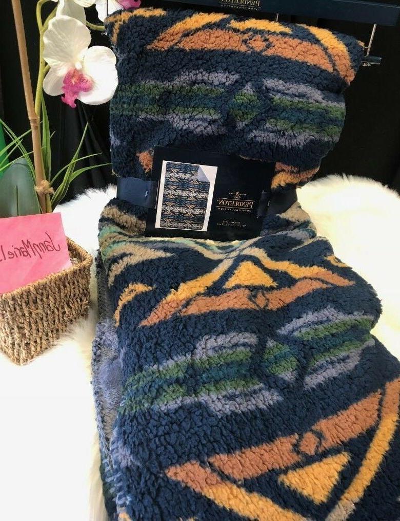 new blanket throw aztec blue camel sherpa