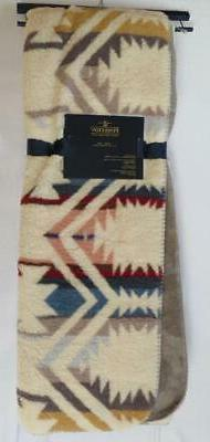 New NWT Ivory Blue Red Aztec Pendleton Sherpa to Fleece Reve