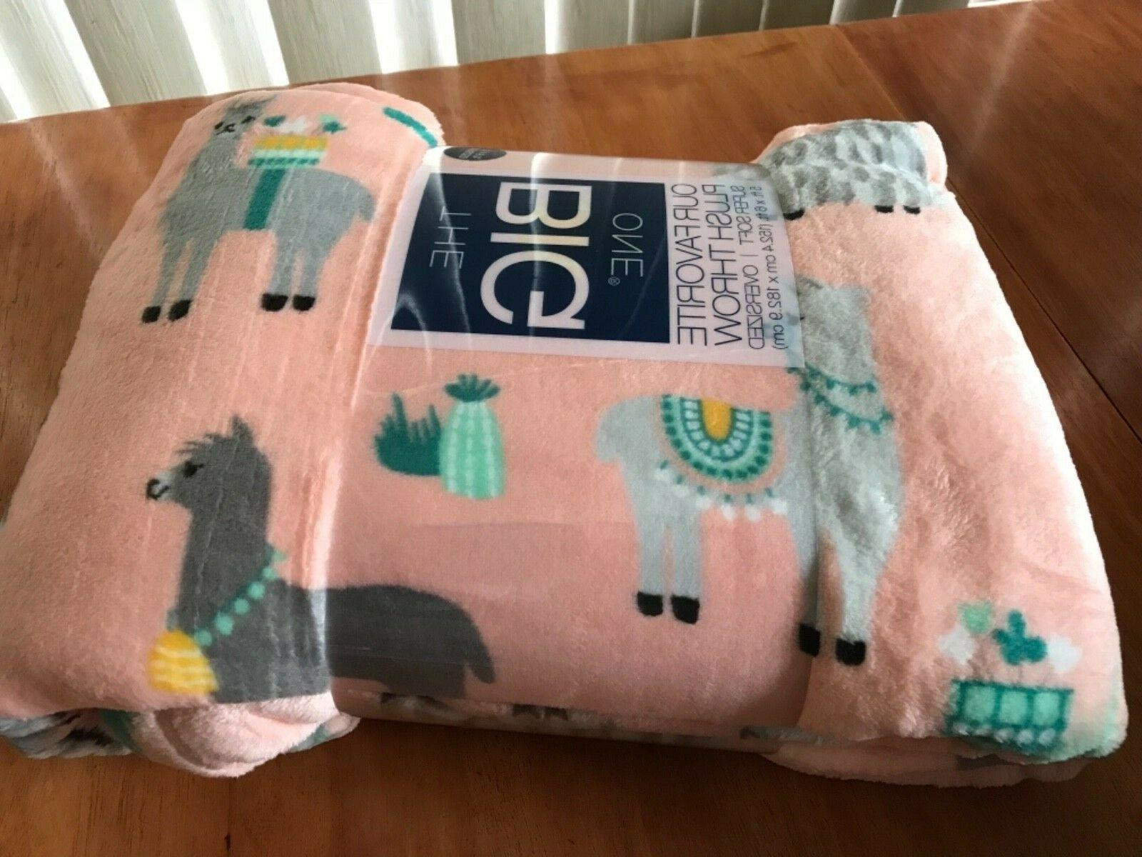 New The One Oversized Pink Llamas Soft Throw Blanket 5' x
