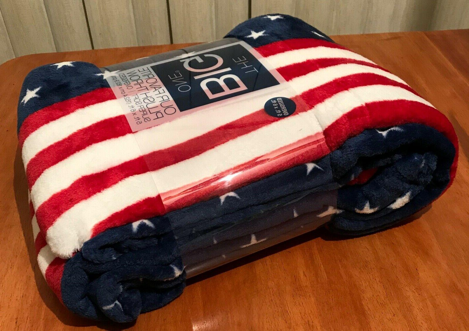 New The Big Oversized Red White Patriotic Soft Throw 5' x