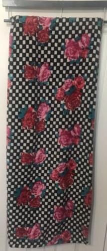 New Betsey Johnson Pink Roses on Black Plush Sz.50x70