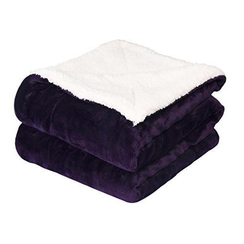 newshone sherpa throw blanket reversible fuzzy plush blanket
