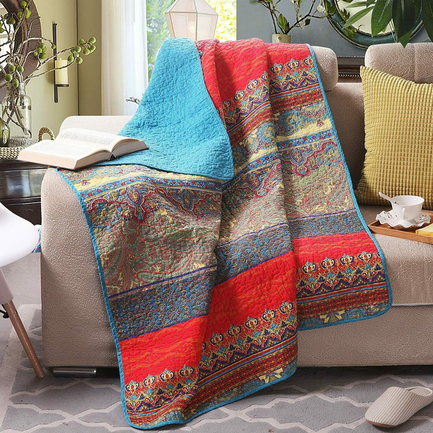 """Nice Quilt Throw Blanket 50"""" x 60"""" 100% Cotton Colorful Bohe"""