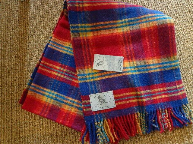 nwt blanket throw block check new wool