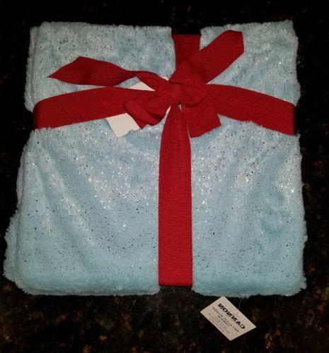 nwt metallic plush throw blanket shimmer blue