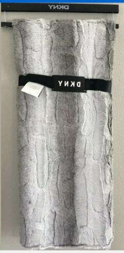 "NWT DKNY Throw Blanket Wide Stripe Faux Fur 50""X60"" ~ Grey -"