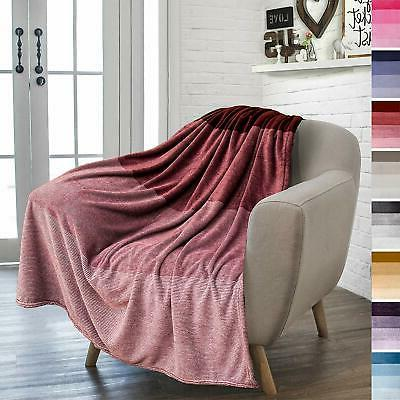 Ombre Gradient Blanket for Soft Lightweight Decorative