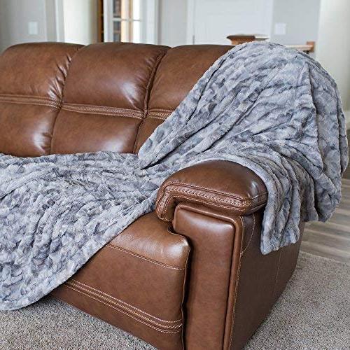 Softest Warm Elegant Faux Fur Home Blanket Marbled