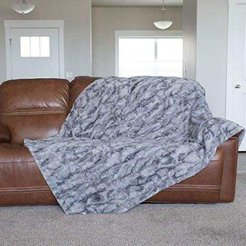 GRACED LUXURIES Softest Warm Elegant Faux Fur Blanket Marbled Gray