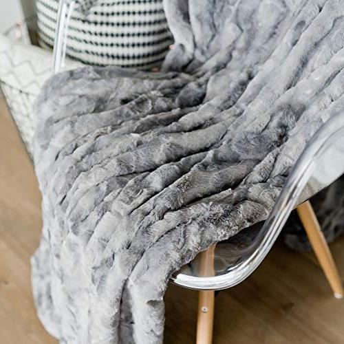 "GRACED LUXURIES Softest Elegant Faux Fur Home Blanket 60"" x Marbled Gray"