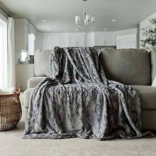"GRACED SOFT LUXURIES Softest Faux Fur Blanket 60"" Marbled"
