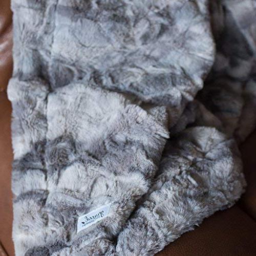 GRACED SOFT Softest Warm Elegant Faux Fur Throw Marbled Gray