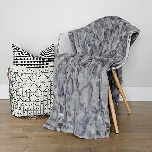 GRACED SOFT Faux Fur Home Throw Blanket x Marbled Gray