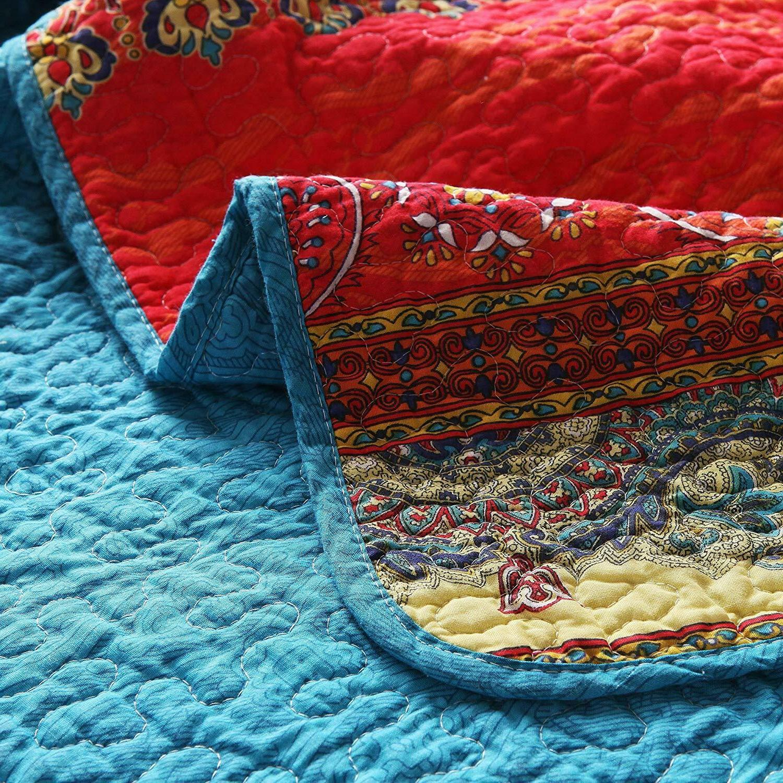 "Paisley Boho Throw Blanket 60"" x Reversible"
