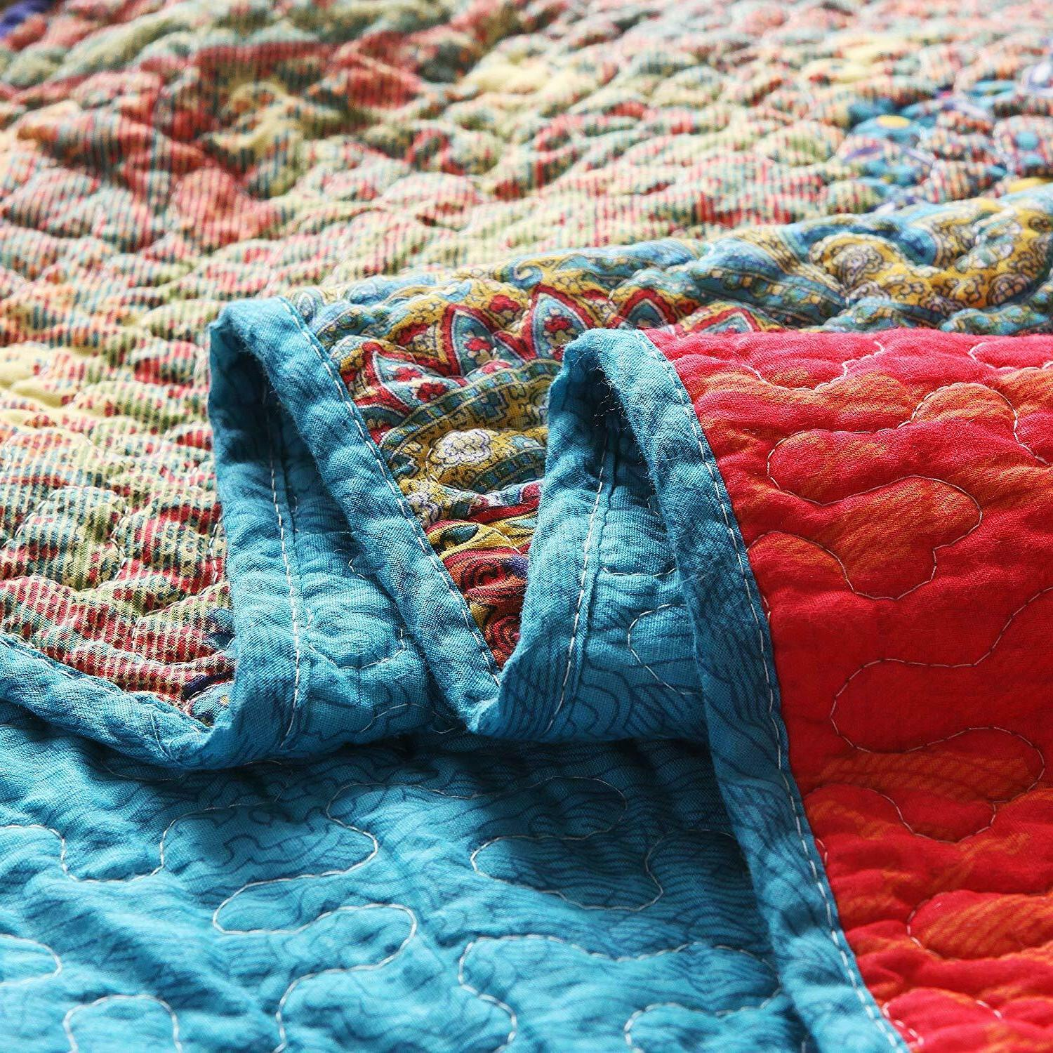 """Paisley Boho Stripe Quilted Throw 60"""" x"""