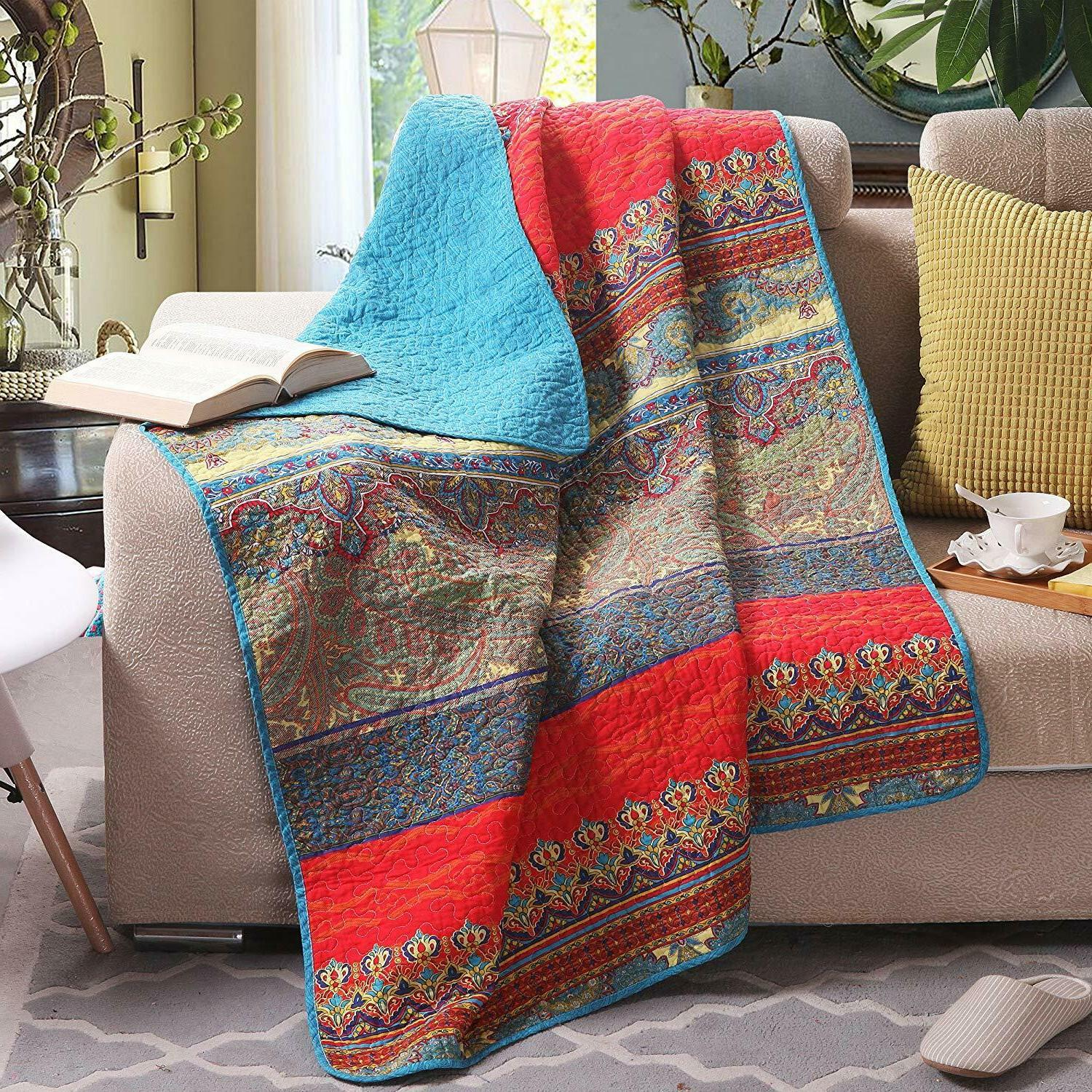 paisley boho stripe quilted throw blanket 60