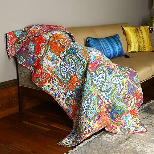 "RAJRANG Patchwork Blanket Multi Soft Warm Reversible Quilt and 50""x60"""