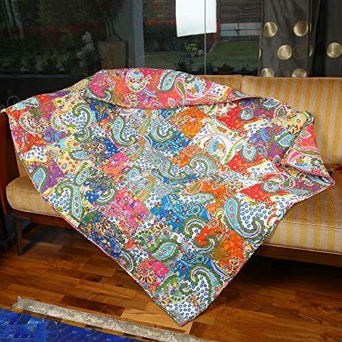 RAJRANG Patchwork Blanket Color Soft Warm Indian Vintage Reversible for and