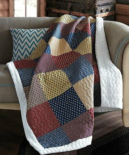 patriotic charm sherpa quilt throw lodge patchwork