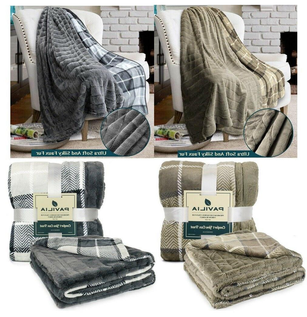 Plaid Sherpa Throw Fleece Soft Plush Warm