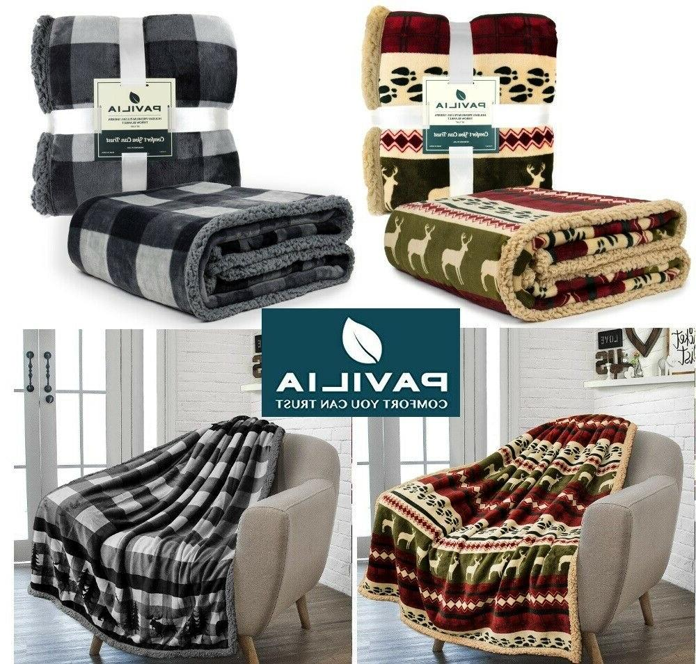 Plaid Sherpa Fleece Checkered Soft Warm Couch Bed Blanket