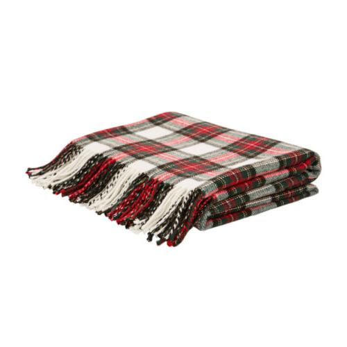 Glitzhome Plaid Woven Fringe Throw Couch Home Decor