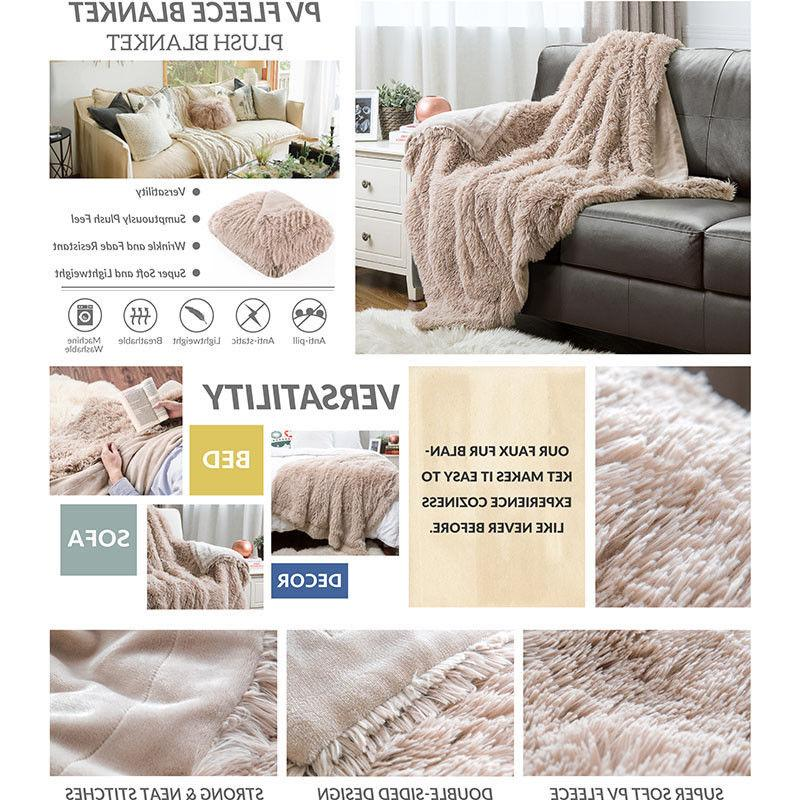 Bedsure Plush Reversible Throw Fuzzy Warm Bed Sofa Blanket
