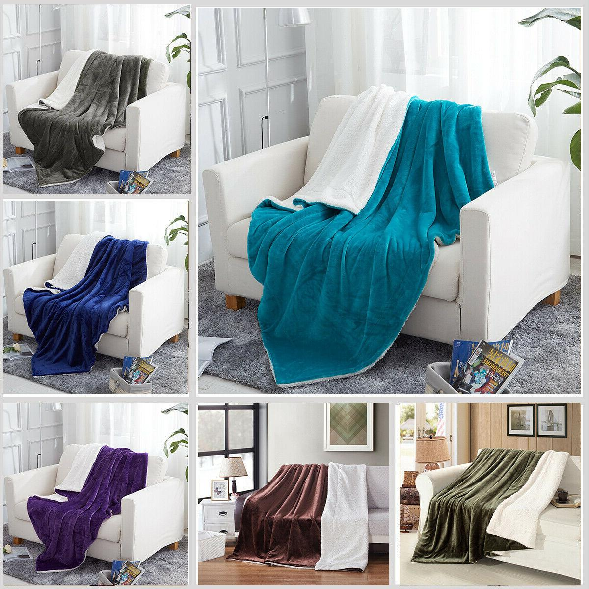 Plush Sherpa Blanket for Couch Sofa Bed Microfiber