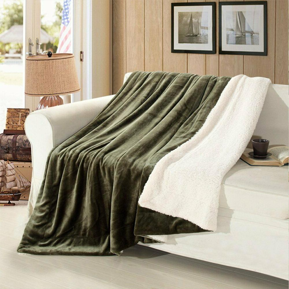 Plush Fuzzy Sherpa Blanket for Couch Bed Throw/Twin