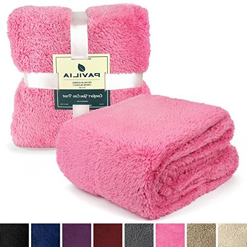 PAVILIA Sherpa Blanket for Couch Sofa | Fluffy Throw | Fuzzy, Cozy, Lightweight Solid Pink Blanket | x 60