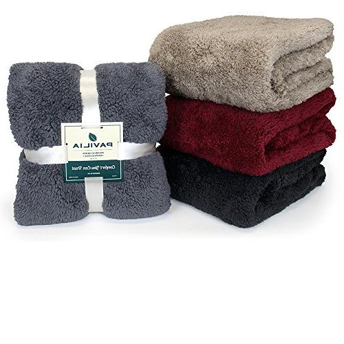 PAVILIA Sherpa Throw Blanket | Fluffy Microfiber Throw Soft, Cozy, Lightweight Pink Blanket x