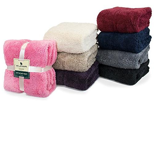 PAVILIA Plush Blanket for Couch | Throw Fuzzy, Cozy, Lightweight | Pink Blanket x