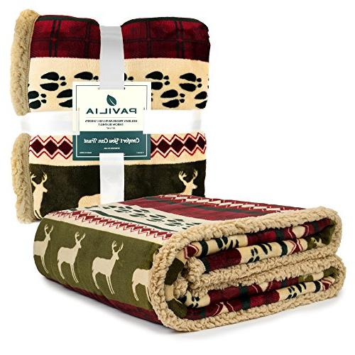 PAVILIA Premium Plush Soft, Microfiber Winter Throw Holiday Blanket