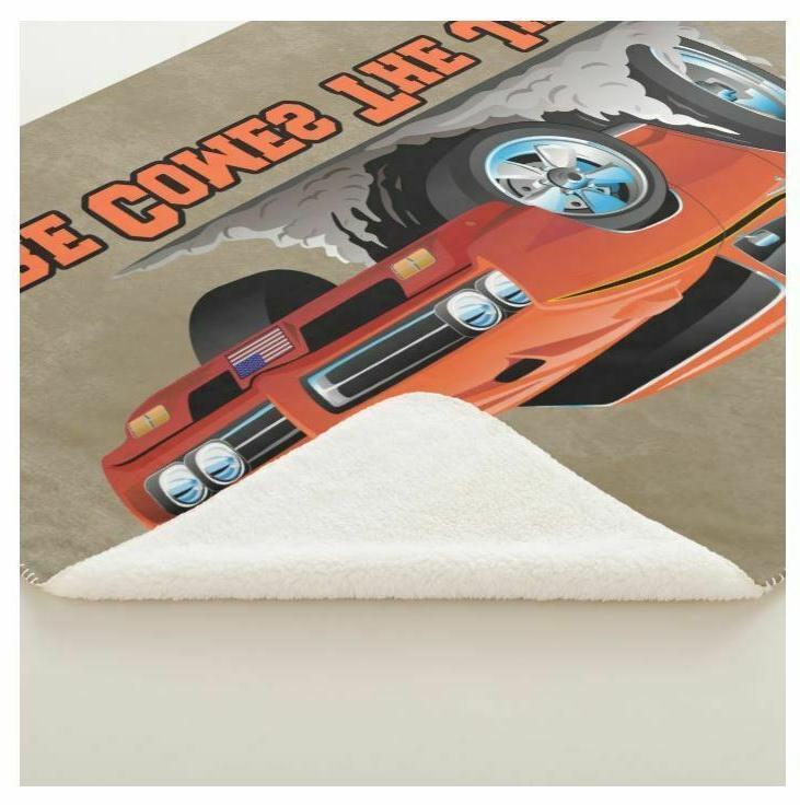 Pontiac GTO Orange Here Comes The Car Sherpa Blanket