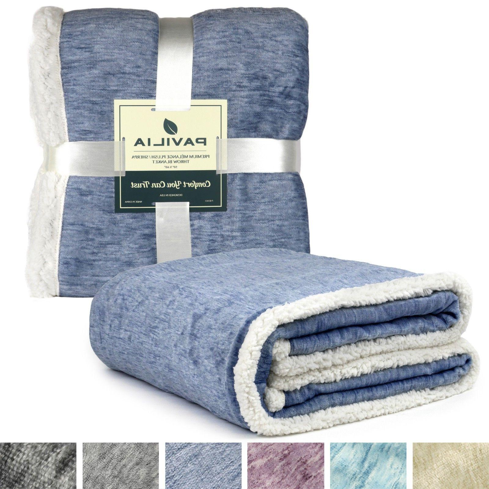 Sherpa Throw for Couch Reversible Soft Microfiber
