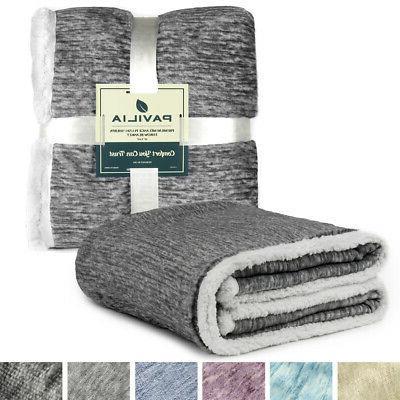 Sherpa Blanket Couch Twin Reversible Microfiber Fleece