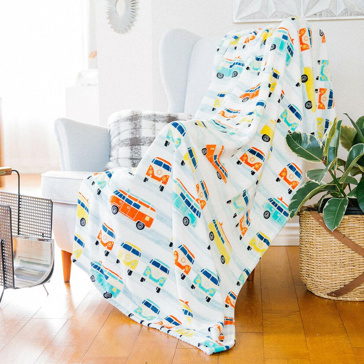 Print Blanket Throw Velvet Plush More Pattern VW BUS
