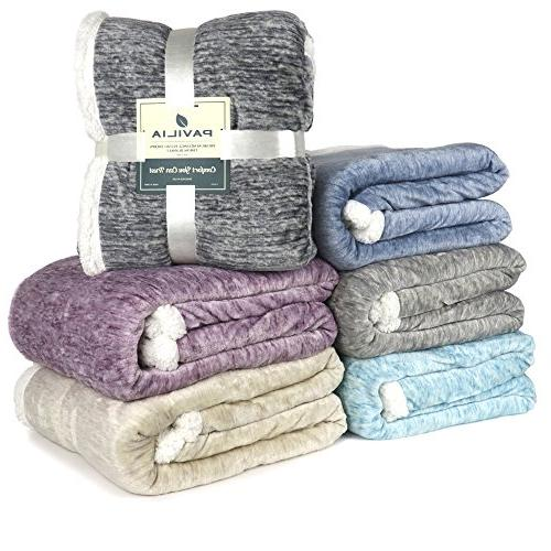 PAVILIA Sherpa Throw Blanket | Soft Micro Fleece Lightweight All Season Blanket