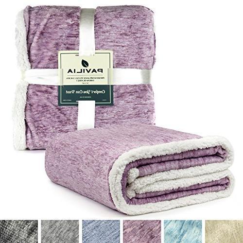 PAVILIA Sherpa Throw Blanket for | Soft Reversible Fleece Blanket