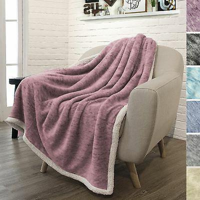 purple sherpa melange throw blanket