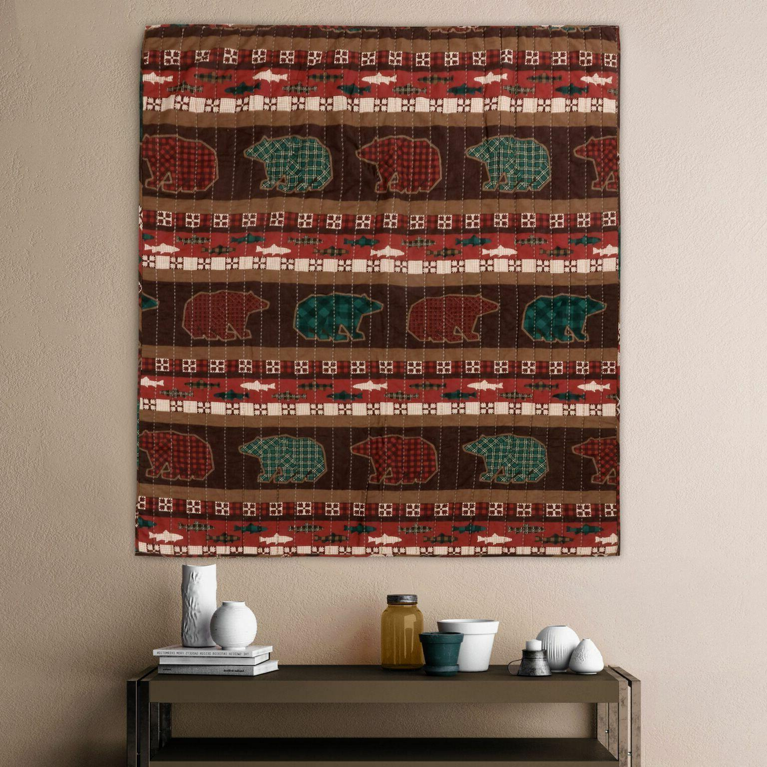 quilt throw bear salmon rustic lodge style