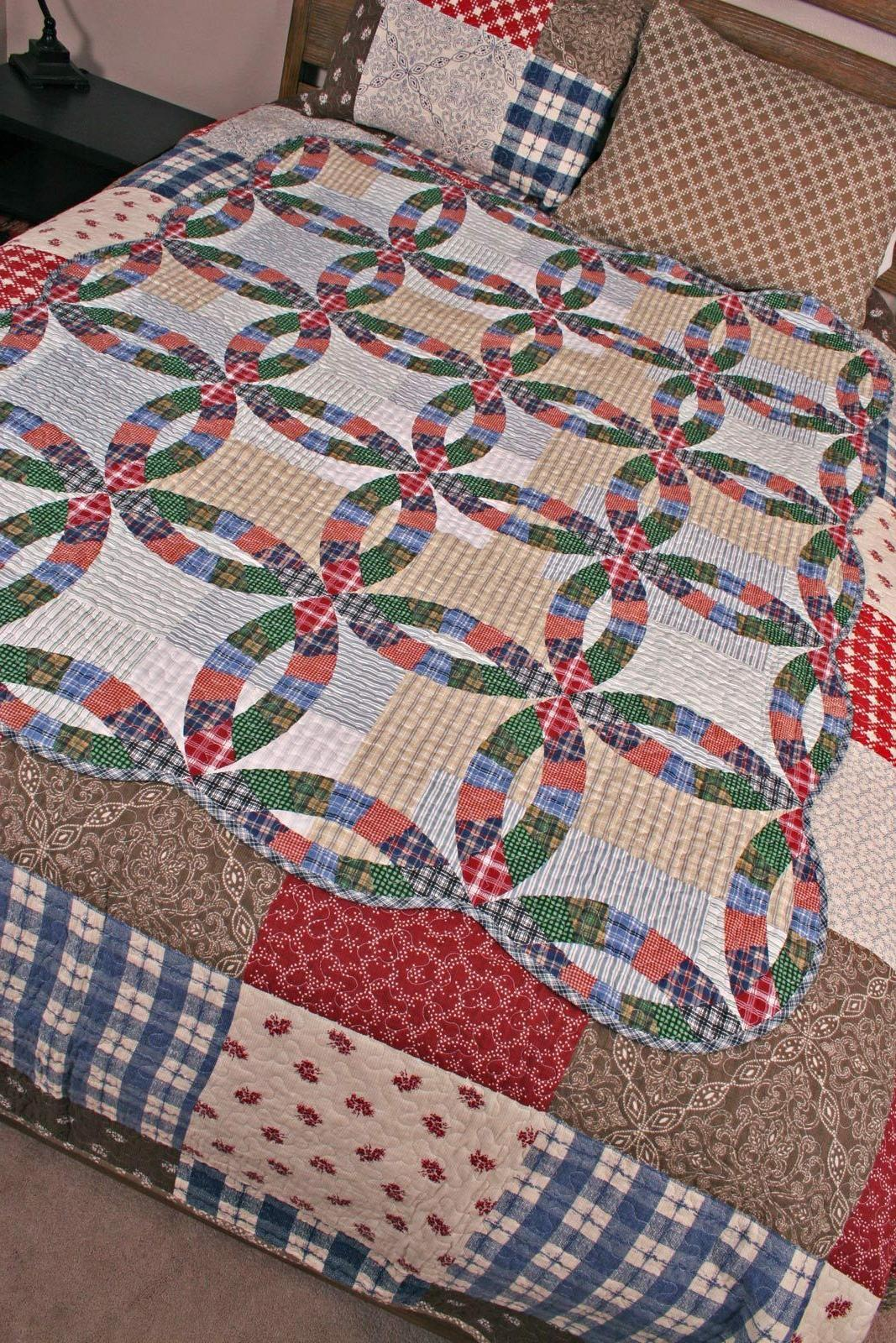 Quilt Throw Ring Americana Plaid Blanket Bedding