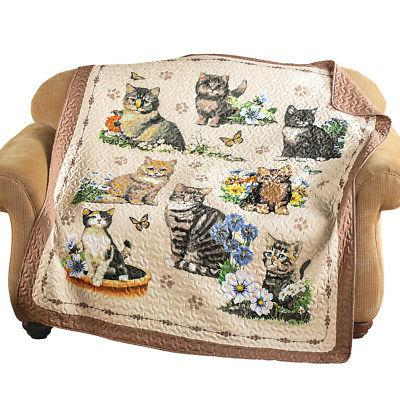 quilted charming kitten cat floral