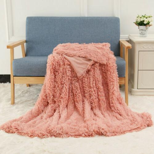 Reversible Fur Blanket Soft Warm Sofa Large Long Shaggy