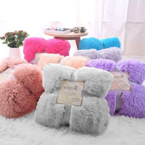 Reversible Fur Blanket Soft Sofa Throw Shaggy