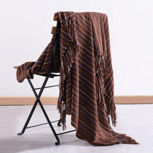 Reversible Tassel Throw Soft for Sofa Decor 50 x 60 inch