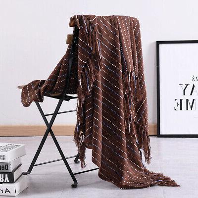 Reversible Tassel Throw Woven Warm Sofa Decor